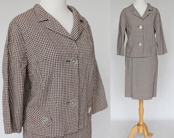 SALE - 60s Vintage Seersucker Suit / Summer Suit / 3/4 Length Sleeves / Brown Check / Small