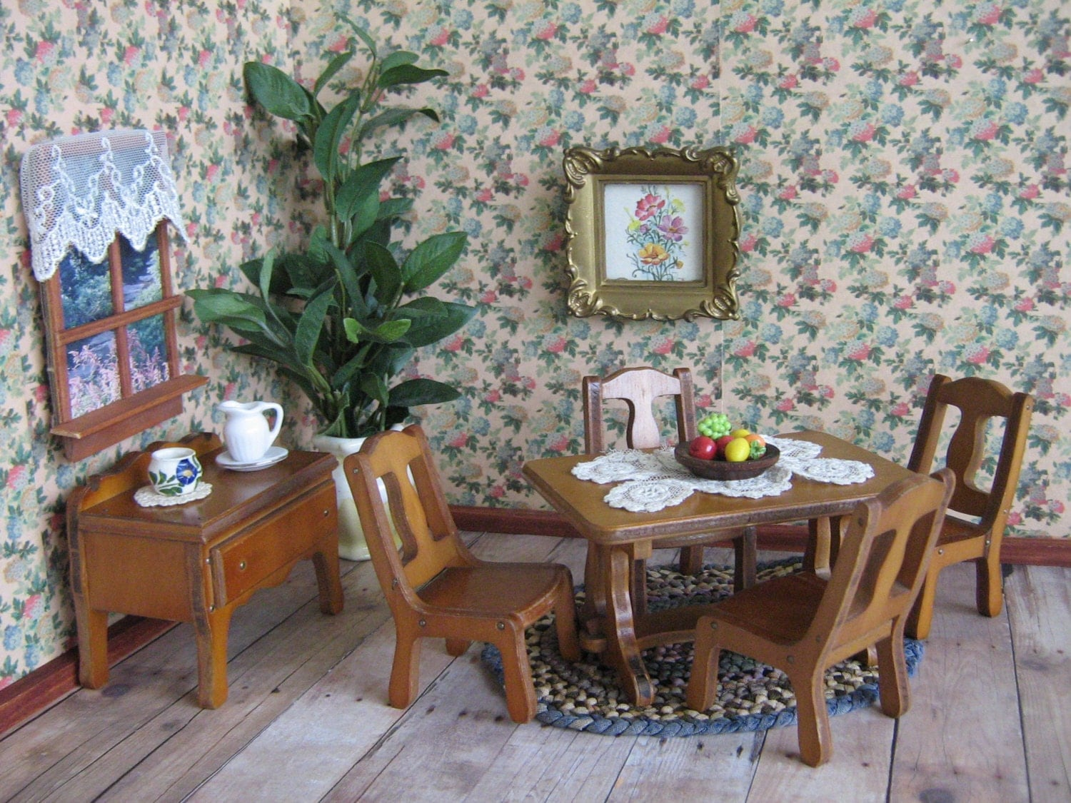 1930s grand rapids dollhouse dining room furniture six - Dollhouse dining room furniture ...