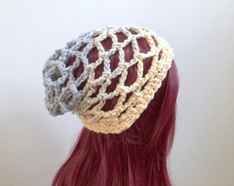 Deep Net Beach Beanie in 100% Eco Friendly Cotton Yarn - deep crown - soft gray and yellow - stretchy
