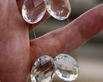 HUGE 16.2X12.2mm Top Grade AAA Rock Crystal Fancy Faceted Oval Briolette Drop Focal Beads Pendants Matching Pair