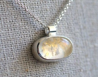 Fancy Rainbow Moonstone Pendant In Sterling Silver and 24k Yellow Gold. Ready To Ship