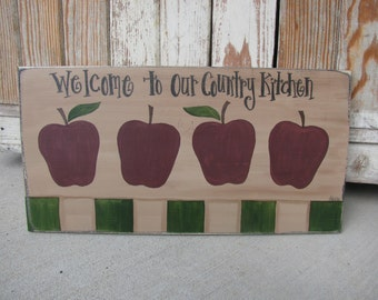 Primitive Country Farm Apples Hand Painted Wooden Sign GCC4822