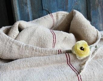 Nr. 613: antique grain sack rustic and rural AUBERGINE RED 43.31 long, tablerunner, upholstery