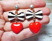 Black and White Stripe Bow with Heart Drop Stud Earrings