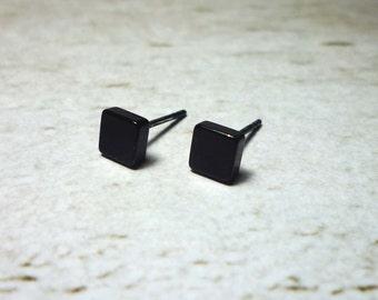 Tiny Black Square Stud Earrings, Dainty Earrings - 4mm