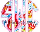 Machine Embroidery Design Applique Circle Monogram Font INSTANT DOWNLOAD