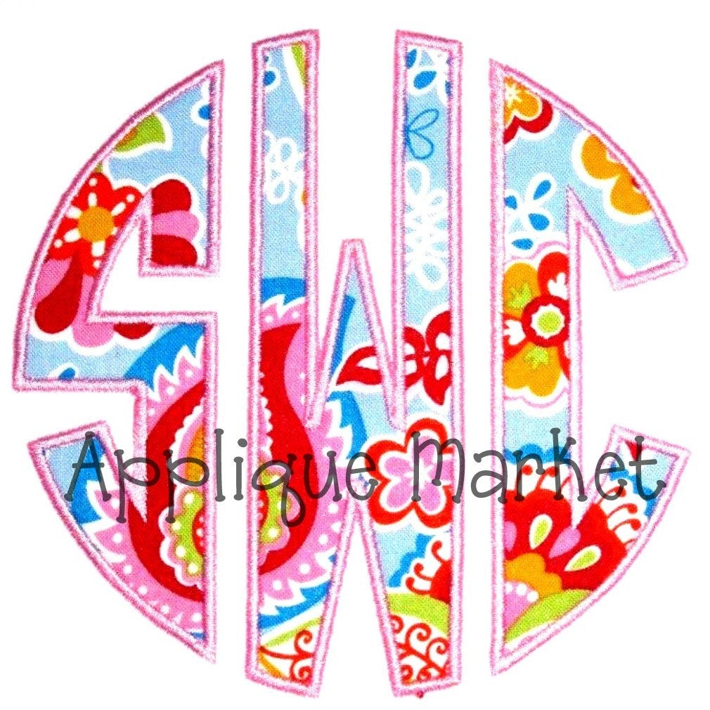Machine embroidery design applique circle monogram font