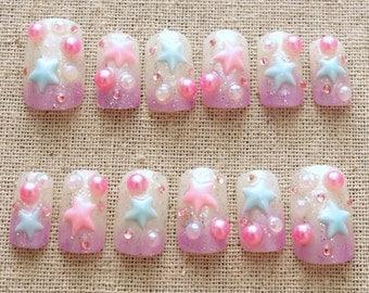 Fairy kei, sweet lolita, lolita accessory, pastel, 3D nail, Japanese nail art, Harajuku, pop kei, stars, ombre, lavender, white, pearl
