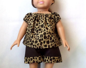18 in Doll Leopard Print Outfit- Top and Shorts
