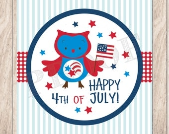 Instant Download 4th of July Owl Tags, Printable 4th of July Tags, July 4th Printable Tags