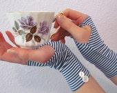 Alice Inspired Blue Striped Gloves Tim Burton Style