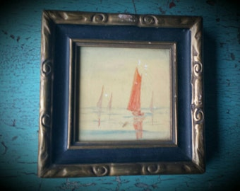 Beautiful painting of Sailboat on tile  , Framed