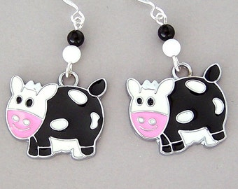 Cute cow earrings, black and white enamel cow charms, farm animal jewelry