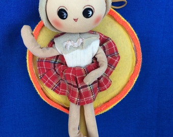 Vintage Pose Doll Mirror Made in Japan 60s 70s Sweet Stocking & Fabric Dollie