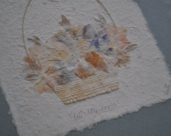 Miniature Basket of Pressed Flowers Picture/Vintage Dried Floral Art