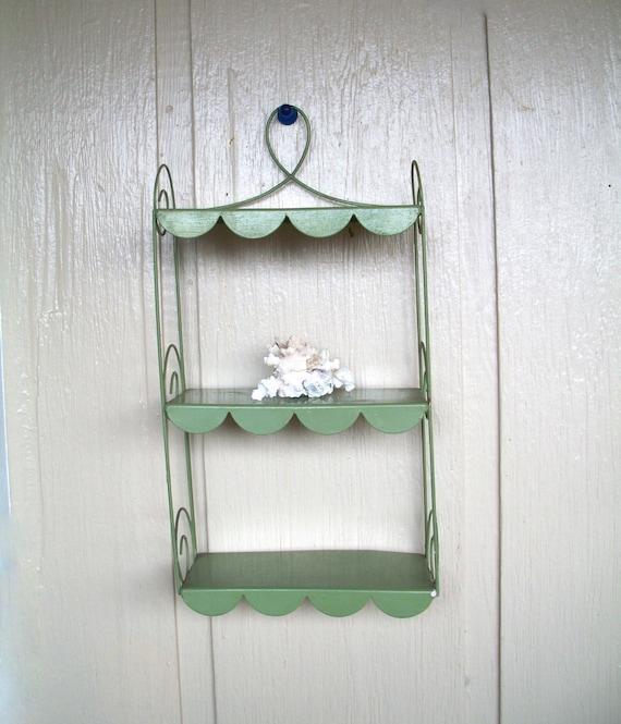 vintage metal wall shelf hanging shelf green by. Black Bedroom Furniture Sets. Home Design Ideas