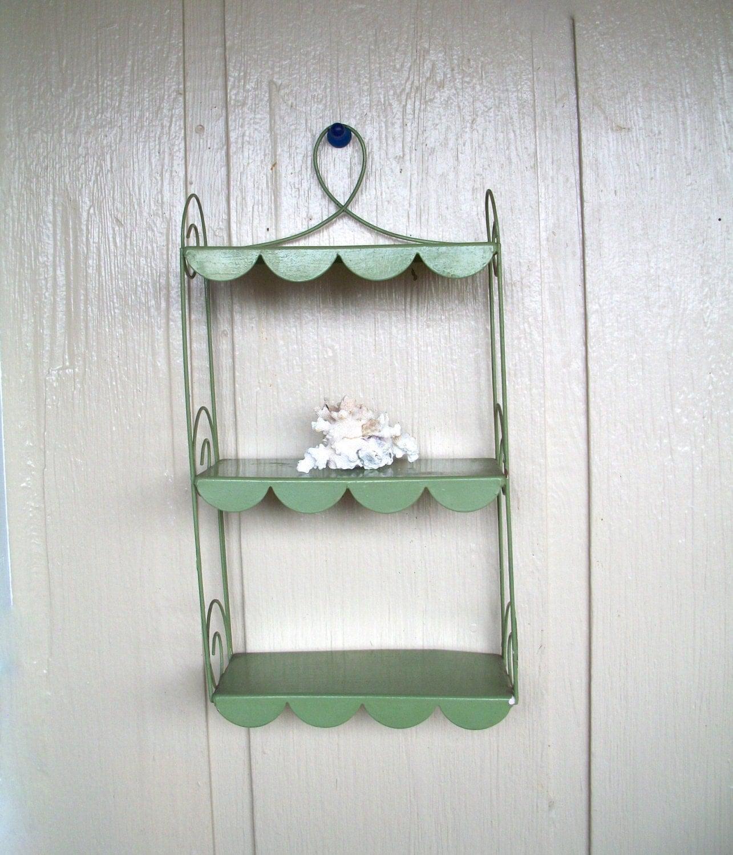 Vintage Metal Wall Shelf Hanging Shelf Green By