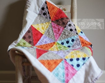 Modern Colorful Hand-Quilted Baby Stroller Carseat Quilt