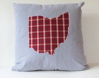 Custom State Memory Pillow Made from Button Down Shirt - Made to Order from YOUR Shirt