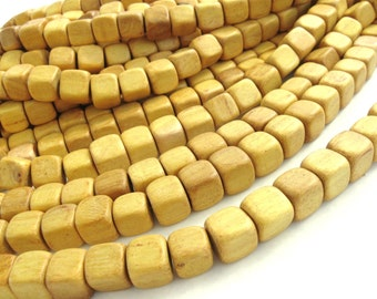 10 Square Nangka Wood Beads - Yellow Wood Bead 12mm