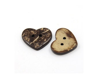 10 Brown Coconut Shell Buttons 20mm -  Heart shape (BC501)