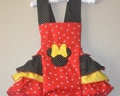 Red polka dot Minnie Mouse sunsuit outfit Minnie mouse Halter Minnie mouse outfit Minnie ruffled romper Minnie mouse