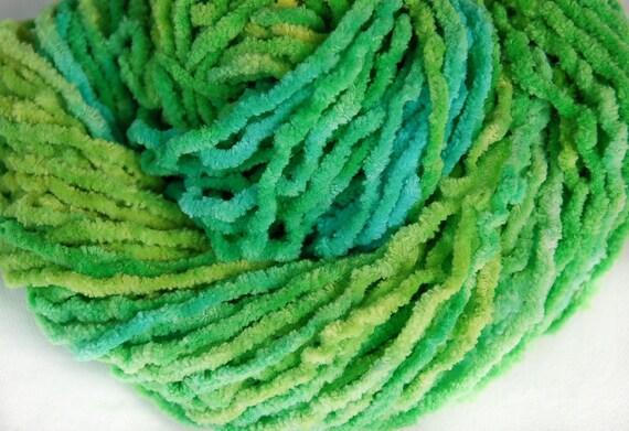 Chenille Yarn : Cotton chenille yarn, vegan yarn, bulky yarn, hand dyed yarn