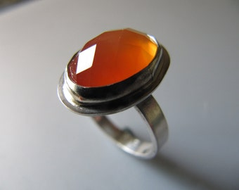 Ring of Faceted Tangerine Carnelian in Sterling Silver