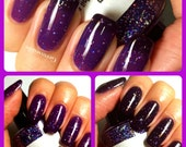 "Color Changing Nail Polish - Purple to Black - ""Thunderstorm"" - Thermal - Holographic - Full Size Bottle"