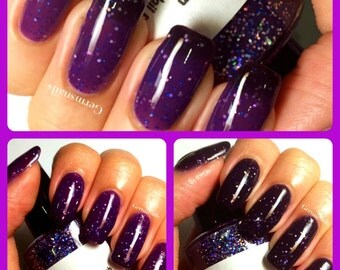 """Color Changing Nail Polish - Purple to Black - """"Thunderstorm"""" - Thermal - Holographic - Full Size Bottle"""