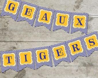 LSU Geaux Tigers Chevron Printable Banner