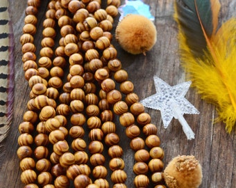 """Olive Wood Beads, 10mm Round, 16"""" strand with 45 beads / Natural Healing Mala Beads, Prayer Beads, Grainy Wooden Beads / Supplies / Brown"""