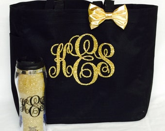 Gift Set Personalized Totes Beach Bag w/Glitter Cup, Black & Gold, Bridesmaid Gifts, Cheer, Dance, Wedding Gifts Beach Bags, Glitter Tote