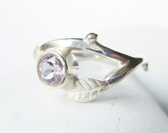 Silver branch ring with Amethyst, twig, nature inspired sterling birthstone ring