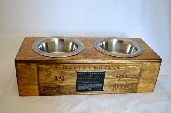 Small wine crate pet feeder featuring harlan by for Small wine crates