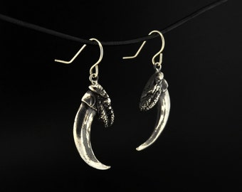 Sterling Silver Native Eagle Talon Dangle Earrings First Nations Symbol of Success and Pride