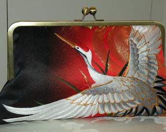 10inch Wedding/Bridal Silk Kimono Bag/Purse/Clutch.Long Island Bride Gift Embroidered Cranes/Red/Gold/Black..Cherry Blossom/Wrap/Shawl