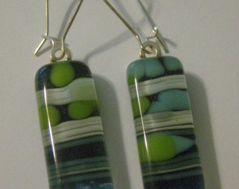 Bubbles and Stripes Fused Glass Ring