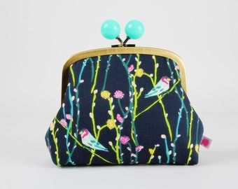 Clutch purse with metal frame - Illusionist vine in tui - Color bobble purse / Birds branches flowers / green navy pink plum teal yellow