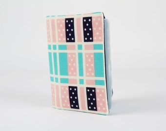 Fabric card holder - Domino plaid turquoise / Cotton and Steel / Japanese fabric / Lucky strikes / Kimberly Kight / Navy blue pink white