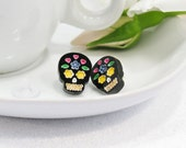 Multicolor Blue and Yellow Hand-Painted Black Sugar Skull Stud Earring