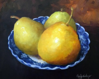 Kitchen Pear Still Life Painting,Three Pears In Blue And White Bowl,Original by Cheri Wollenberg