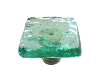 Ocean Wave Knob in Seafoam Green Art Glass.  Softly textured waves and bubbles in this beachy cabinet hardware.