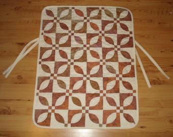 Car seat quilt, stroller quilt, baby, infant, child, handmade, brown, cream, blanket, 24 x 32