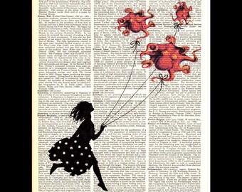 OCTOPUS GIRL art print Orange Red Balloons Kite Ladybug Blue original illustration on vintage dictionary book kids children nursery sky 8x10