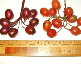 Vintage Millinery Flower Celluloid Fruit Black Cherry & Queen Anne Mix Hat Trim Flower Crown DIY Supply