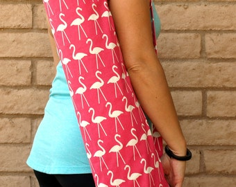 Handmade yoga mat bag, in PINK FLAMINGOS mat bag, yoga tote, yoga sling, yoga mat carrier, pilates mat bag, yoga bag, yoga sac, yoga