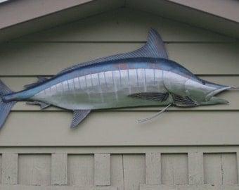 Striped Marlin Metal Fish 68in Wall sculpture  Beach Coastal Tropical Art