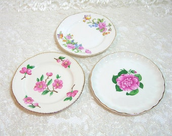 Set Of Three Mix And Match Pink Floral Plates
