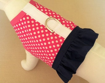 Pink With White Polka Dots Dog Harness Vest